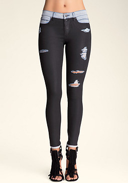 Coated Skinny Jeans at bebe