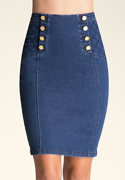 bebe Quilted Denim Skirt