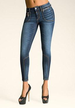 bebe Triple Zipper Skinny Jeans