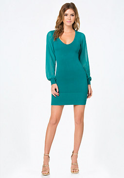 bebe Contrast Sleeve Dress