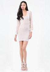 bebe Contrast Sleeve Dress