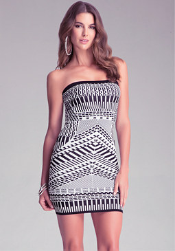 bebe Tribal-Jacquard Tube Dress