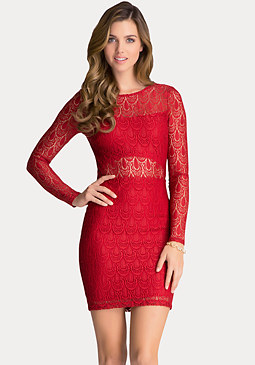 bebe Cutout Lining Lace Dress