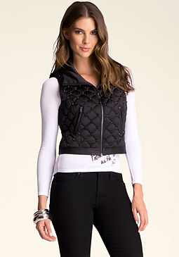 bebe Studded Mini Quilted Vest