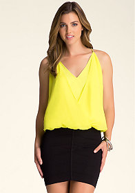 bebe Chain Strap Surplice Top