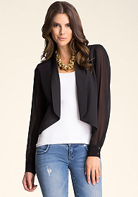 bebe Shawl Collar Crop Jacket