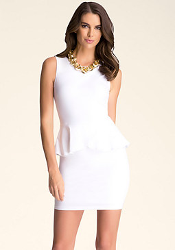 bebe Open Back Peplum Dress