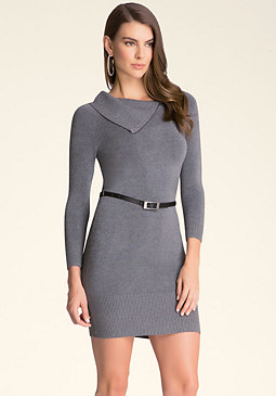 bebe Split Neck Sweater Dress