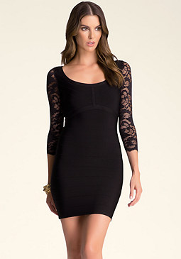 bebe Lace Sleeve Bandage Dress