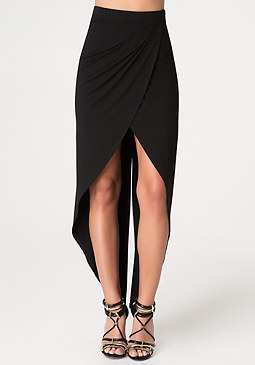 bebe Hi-Lo Wrap-Front Skirt