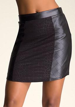 bebe Curved Hem Jacquard Skirt