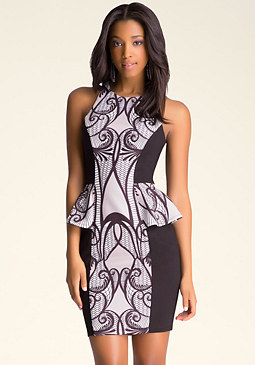 bebe Print Peplum Midi Dress