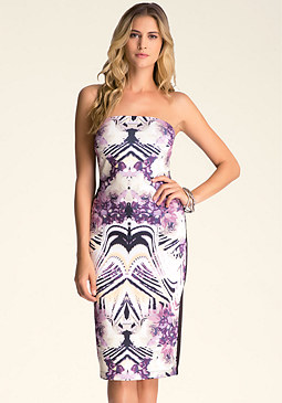 bebe Print Strapless Midi Dress