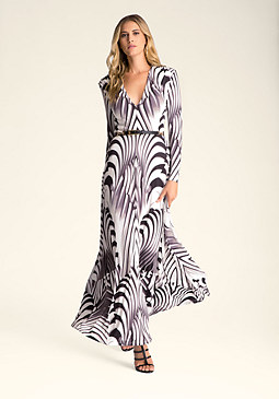 bebe Print Long Sleeve Maxi Dress