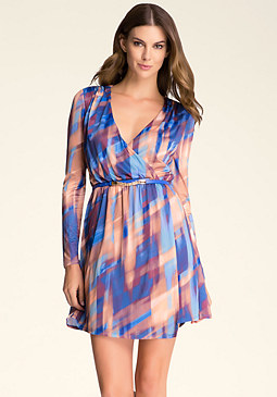 bebe Faux Wrap Belted Dress