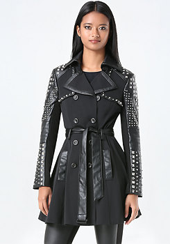 bebe Mix Stud Trench Coat