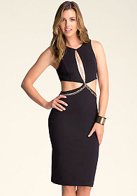 Chain Cutout Midi Dress at bebe