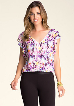 Flutter Sleeve Print Top at bebe