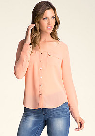 Roll Sleeve Button Up Shirt at bebe