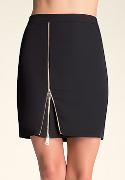 bebe Layered Zip Slit Skirt