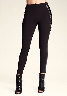 bebe Lace-Up Tuxedo Leggings