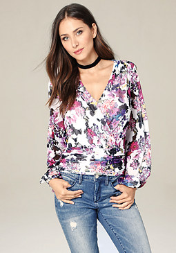Surplice Blouson Top at bebe