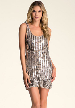 bebe Sequin & Bead Shift Dress