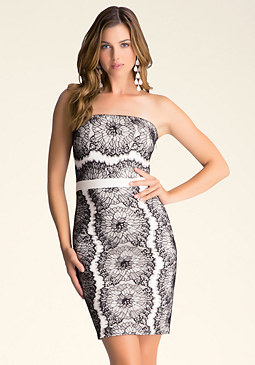bebe Strapless Lace Trim Dress