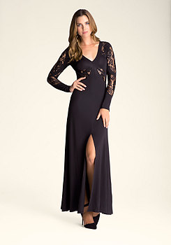 bebe Plunging V-Neck Lace Gown
