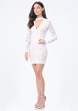 Lace Panel Mock Neck Dress at bebe