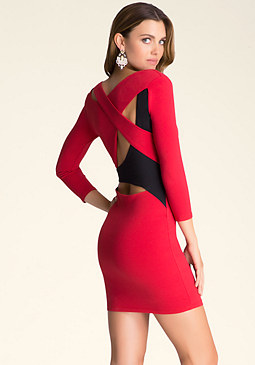 bebe V-Neck Colorblock Dress