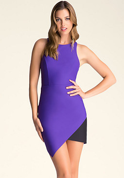 bebe Contrast Asymmetric Dress