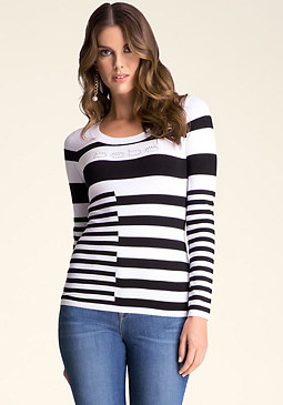 bebe Striped Logo Sweater