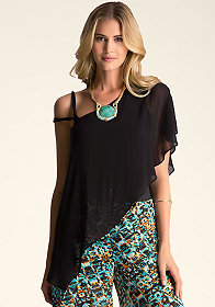 bebe Asymmetric Cascade Top