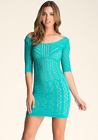 bebe Double Layer Pattern Dress