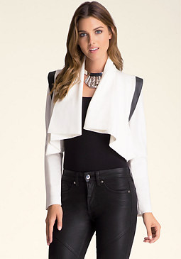 bebe Angela Draped Crop Jacket