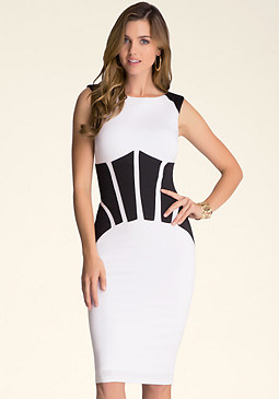 bebe Coated Patchwork Dress
