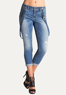 bebe Cuffed Suspender Jeans