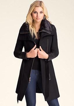 bebe Faux Fur Trimmed Coat