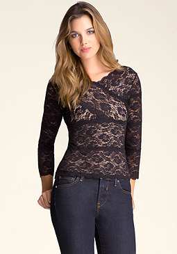 bebe Banded Lace Top