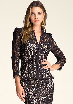 bebe Scalloped Edge Lace Jacket