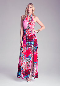 bebe Petite Tie Neck Maxi Dress