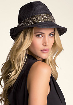 bebe Sequin Trim Fedora Hat