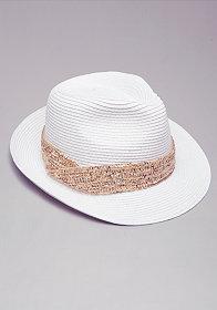 bebe Sequin Trim Fedora Hat