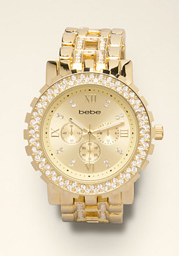 bebe Rhinestone Link Watch