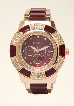 bebe Enamel Link Watch
