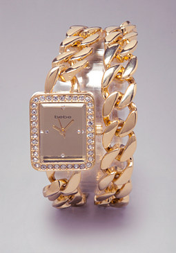 bebe Chain Link Wrap Watch