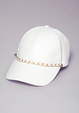 FAUX LEATHER & CHAIN CAP at bebe