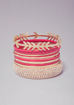 bebe Enamel & Crystal Bangle Set