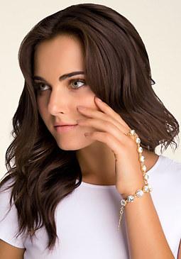 bebe Rhinestone Hand Chain